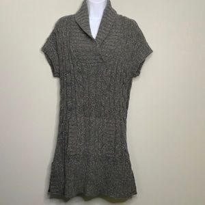 INC Gray Sparkle Cable Sweater Tunic Top A3 0122